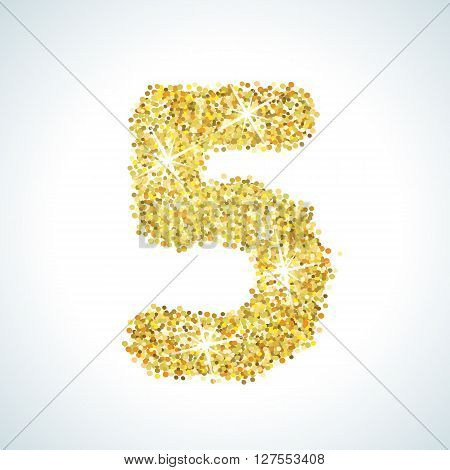 Five number in golden style. illustration gold design. Formed by yellow shapes. For party poster, greeting card, banner or invitation. Cute numerical icon and sign.