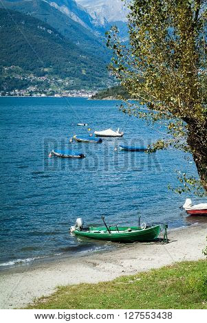 colorful boats photographed at Lake Como in North Italy