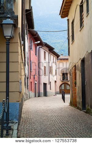 a traditional Italian street in Colico a town near Lake Como