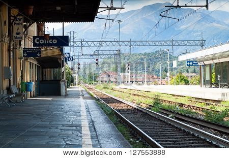 Colico Italy - September 8th 2015: the train station in Colico a town in the northern part of Lake Como