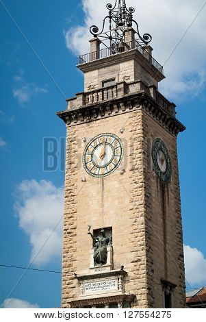 Bergamo, Italy - September 9th 2015: bell tower monument dedicated to the victims of WW1 (Caduti I Guerra Mondiale 1915 - 1918) in Bergamo Italy. The text says approx.