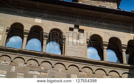 closeup photo of a small old chapel in the upper part of Bergamo a town near Lake Como in Italy