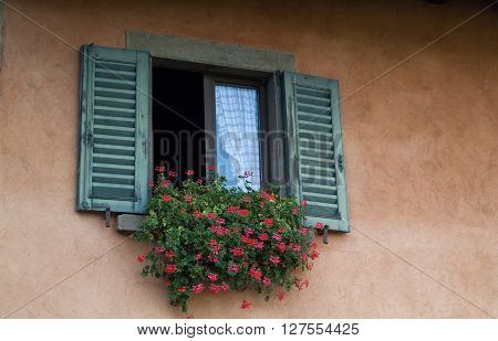closeup photo of a traditional Italian window decorated with flowers