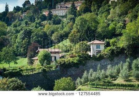 detached houses on the hills of Bergamo a town near Lake Como