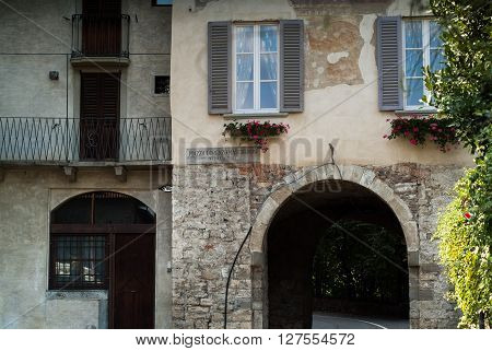 closeup of an old house in Piazza Lorenzo Mascheroni in Bergamo a town near Lake Como