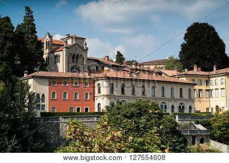 a beautiful sunny view of the upper part of Bergamo a town near Lake Como in Italy