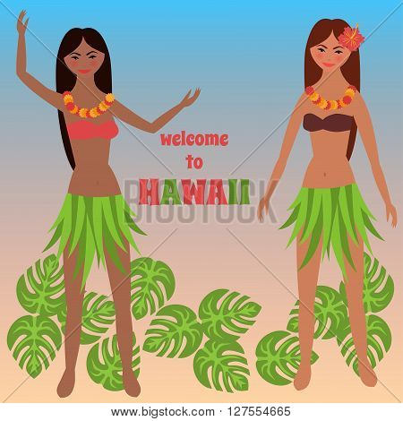Colorful poster with tropical rest, time off on Hawaii islands, vacation, weekend,  Aloha, Girl dancing hula, Luau party background