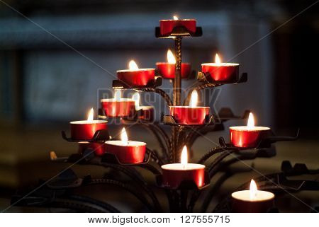 a candle tree photographed inside Cappella Colleoni in Bergamo North Italy