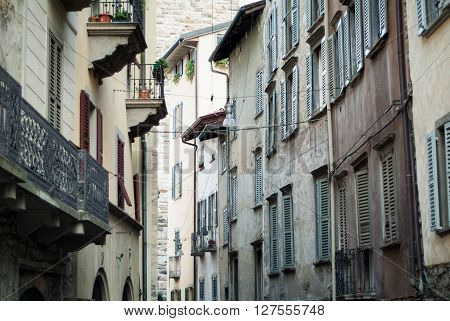 houses in Piazza Vecchia in Bergamo a town near Lake Como Italy