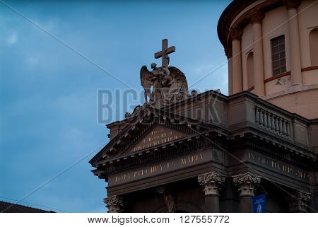 Bergamo Italy - September 9th 2015: the entrance of Santa Maria Immacolata delle Grazie a church in Bergamo Italy photographed at dusk.