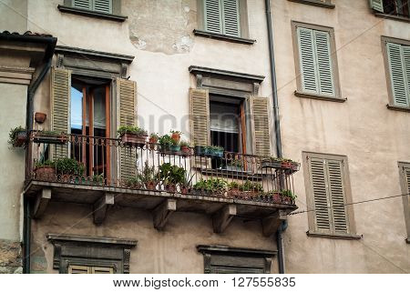 closeup of an old facade near Piazza Vecchia Bergamo in Bergamo a town near Lake Como