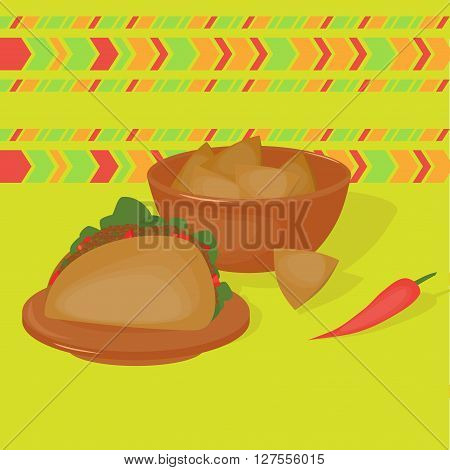 Mexican traditional food set, traditional cusine of Mexico, latino fast food menu takos and nachos, restaurant meal