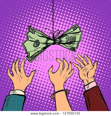 Cash bait vector retro illustration pop art retro style. Business and Finance. Hands reach for the dollars. Greed