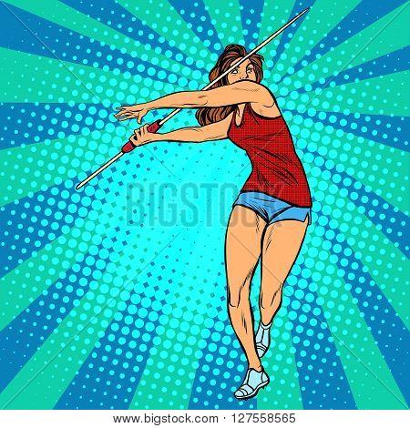 girl athlete throwing javelin, athletics summer games pop art retro style. Javelin thrower, beautiful woman athlete
