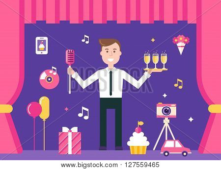 Event Manager on Stage Surrounded by Event and Party Objects. Event Management and Event Agency Vector Illustration