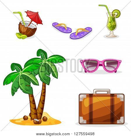 Vacation and travel background. Set summer symbols. Vector Stock Illustration