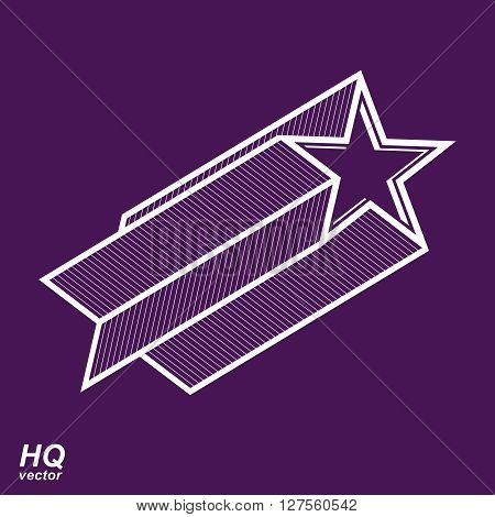 Vector celestial object pentagonal comet star illustration. Graphical stylized comet tail. Military retro design element.