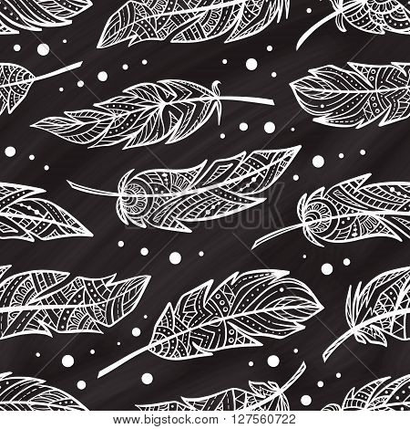 Vector zendoodle feathers seamless pattern on a chalkbord background. Boho style. poster