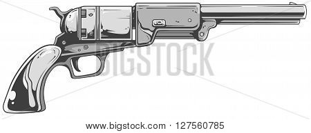 A vector illustration of cool old revolver in white-grey tones