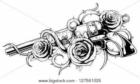 A vector tattoo illustration of colt with three roses