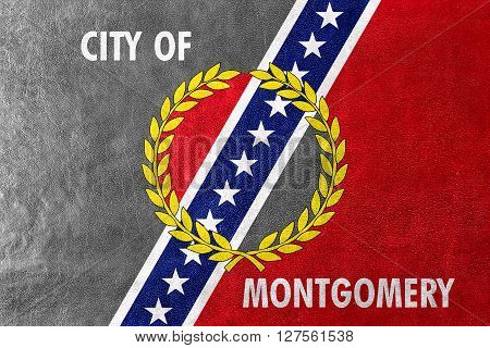 Flag Of Montgomery, Alabama, Painted On Leather Texture