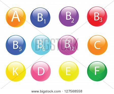 Vitamin  icon colorful balls infographic with  A,B1,B2,B3,B5,B6,B12,C,D,E,K,F vector isolated