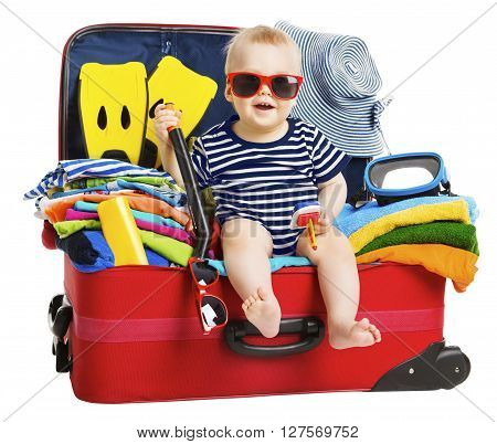 Baby Travel Vacation Suitcase. Kid in Packed Luggage Family and Child Holiday