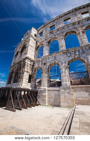 Ancient Roman Amphitheater And Church In Pula, Istria, Croatia