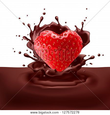 Appetizing strawberry heart dipping into chocolate with splashes