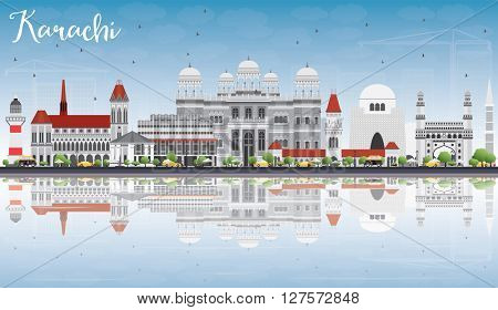 Karachi Skyline with Gray Landmarks, Blue Sky and Reflections. Vector Illustration. Business Travel and Tourism Concept with Historic Buildings. Image for Presentation Banner Placard and Web Site.