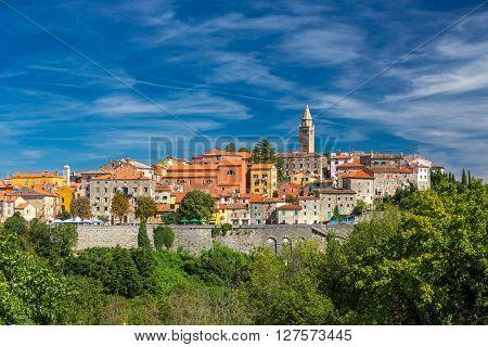 LABIN CROATIA August 30 2014 - Old village on the top of the mountain in Labin Istria Croatia