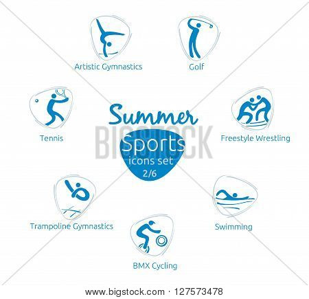 Summer sports icons set 2 of 6 vector illustration template for web print and other projects