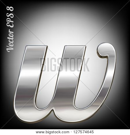 Vector letter w from metal alphabet. Lovercase metal font collection. EPS 8