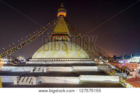 Boudhanath stupa at night in Kathmandu, Nepal