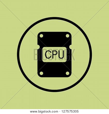 Cpu Icon In Vector Format. Premium Quality Cpu Symbol. Web Graphic Cpu Sign On Green Circle Backgrou