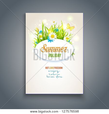 Summer template and flowers. Positive summer card. Nature template for design banner,ticket, leaflet, card, poster and so on. Place for text.