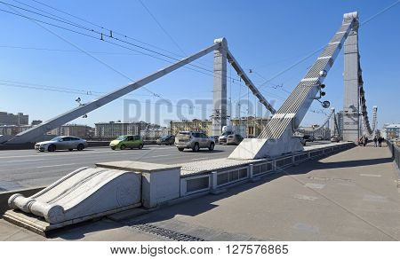 MOSCOW, RUSSIA - APRIL 12, 2016: View of the Krymsky Bridge built in 1938 crosses the Moscow River and connects Krymskaya area with street Krymsky Val