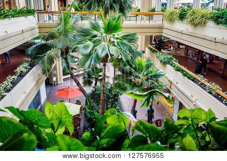 Honolulu, Hawaii, USA - Dec 15, 2015: Hyatt Regency Waikiki Beach Resort and Spa atrium. Open to the public and is often busy with people walking around the different levels, both day and night. The greenery gives a cool feel to the area, despite the heat