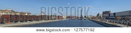 MOSCOW, RUSSIA - APRIL 12, 2016: Panoramic view of Moscow from Krymsky Bridge. On the right Tretyakov Gallery on Krymsky Val in the heart of Christ the Savior Cathedral and the monument Peter I