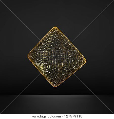 Vector Transparent Octahedron. Wireframe Object with Dots. Abstract 3D Connection Structure. Geometric Shape for Design.