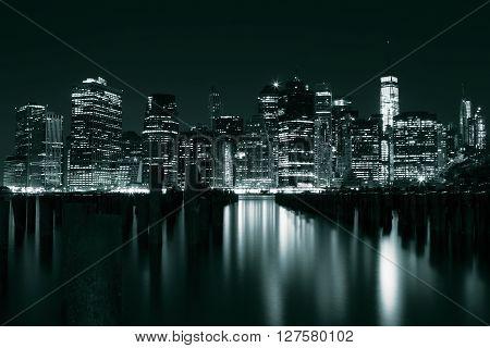 Green Manhattan at night, New York, USA ** Note: Visible grain at 100%, best at smaller sizes