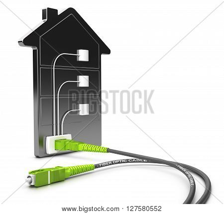 3D illustration of a FTTB network for high broadband access over white background Fiber to the building concept.