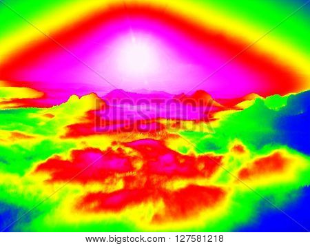Amazing Thermography Photo Of Hilly Landscape. Autumn Sunset Above Long Deep Valley With Forest.