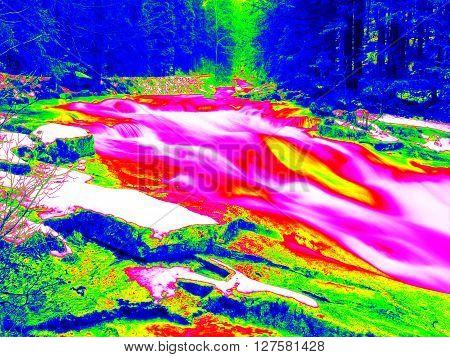 Foamy Water Level Of Waterfall, Curves Between Boulders Of Rapids. Water Of Mountain River In Infrar