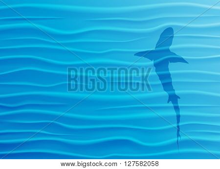 Shark silhouette in blue water. Blue water waves background with shark and copy-space. Vector Illustration EPS10.
