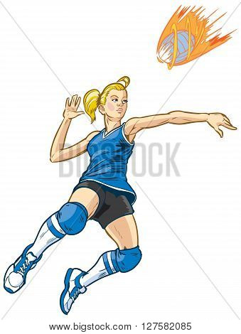 Girl volleyball player jumping to spike an incoming serve that looks like a fire ball. This vector clip art illustration is built in layers for easy editing. Ball is on a separate layer.