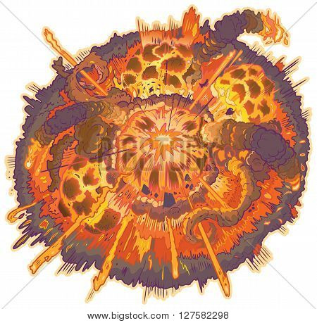 Vector cartoon clip art illustration of an explosion with fireballs smoke and flying debris.