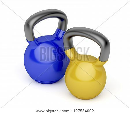 Kettlebells with different weights on white background, 3D illustration