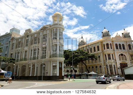 RECIFE, BRAZIL - CIRCA APRIL 2016: Buildings in Old Recife, located in Pernambuco state, Brazil