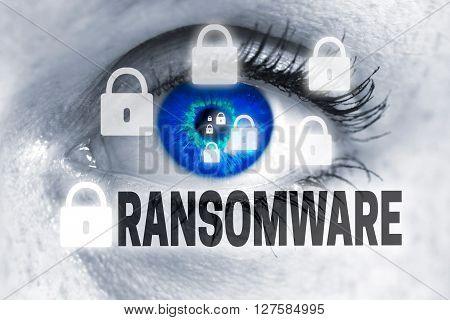 ransomware eye looks at viewer concept background